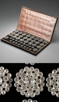 Set of Man's Coat and Waistcoat Buttons with Case, Germany, circa 1805, paste stones set in gilt silver, Box Overall: 6 1/2 x 11 x 1 in. (16.51 x 27.94 x 2.54 cm); Diameter: Coat buttons: 1 1/4 in. (3.17 cm); Waistcoat buttons: 3/4 in. (1.90 cm)