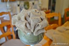 How to Make a Burlap Topiary - Cottage at the Crossroads Topiary, Mesh Wreaths, Diy Projects To Try, Diy Flowers, Flower Arrangements, Burlap, Christmas Decorations, Diy Crafts, How To Make