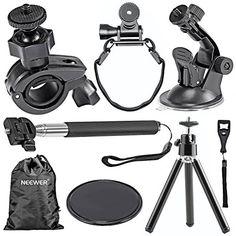 Neewer-Kit de accesorios de exterior para GoPro Hero 4Sliver Black, Gopro 1233+ 4, Sj4000Sj5000Sj6000Deportes Cámaras, Sony Action Video Camera HDR-AS15HDR-AS20HDR-AS30V HDR-AS100V Outdoor Sports, El Kit Incluye: de mano Selfie monopié extensible Mount + Soporte de Trípode de Bicicleta + Casco Correa + Soporte de Ventosa de Coche + Coche Ventosa Pad antideslizante Mat + Rotatorio 360grados Mini portátil trípode + Bolsa de Neewer + Llave - ht