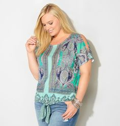 Get interesting tops with casual tie front details like our new plus size Cold Shoulder Tie Front Scarf Top available in sizes 14-32 online at avenue.com. Avenue Store
