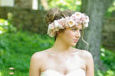 Rose gold flower crown A flower crown without the wilting.  This flower crown is made with the most beautiful shades of pink preserved garden roses and designed with blush hydrangea, rose gold crystals and gold babies breath.   It will not wilt in an hour,  it will look this way years from now.