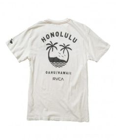 Men's RVCA Vintage Tee - Oahu Team; Color Options: Vintage White and Henna. $27.00 Available at islandsnow.com and at the Island Snow Hawaii Kailua Beach Center location.