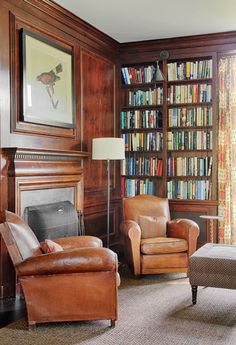 Antique leather club chairs and a floor lamp from the both from Balsamo in New York, offer a comfy reading spot in the library Living Room Inspiration, Home, Luxe Interiors, Club Chairs, Leather Club Chairs, Leather Chair, Interior Design, House Interior, Room