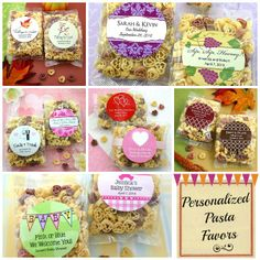personalized pasta favors - weddings, baby, party