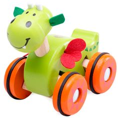 Promote your little one's hand-eye coordination development with this too-cute push-along dragon. Push Toys, Developmental Toys, Toddler Toys, Early Childhood, Yoshi, Little Ones, Design, 3 Years, Eye