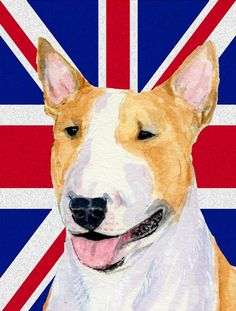 Bull Terrier with English Union Jack British Flag Flag Canvas House Size SS4938CHF