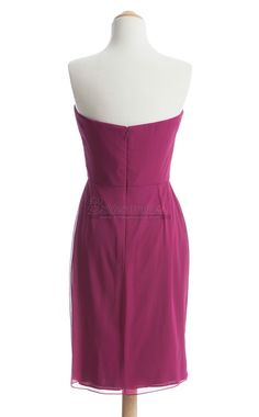 #bridesmaid Sweetheart Neck Short Chiffon Fuchsia Bridesmaid Dress BDS-CA134