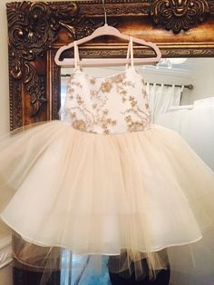 Girls / Toddler Embroidered Tulle Dress Bronze / Champagne flower girl dress…