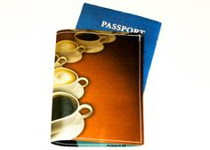 Coffee Passport Holder - Recycled Paper Passport Cover with Coffee Cups. $12.00, via Etsy.