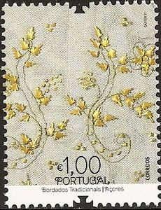 Traditional Portuguese Embroiderie, Açores . Stamp printed in Portugal, 2011