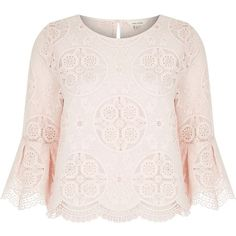 River Island Light pink lace top ($76) ❤ liked on Polyvore featuring tops, blouses, pink, women, light pink top, river island, lace top, lace embellished top and lacy tops
