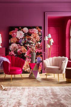 €349 | Water Lily Pink fauteuil, trendy fauteuil uit de eigenzinnige collectie van Kare Design. De stijlvolle woonaccessoires en meubels van dit unieke merk zijn echte eyecatchers en geven uw interieur extra karakter! Afmeting: (hxbxd) 73x85x78 cm. Kare Design, Style Floral, Deco Rose, 5 W, Flower Pictures, Flower Power, Bright Pink, Color Inspiration, Designer
