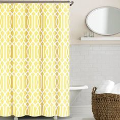 Echelon Home Irving Place Geometric Print Shower Curtain (Yellow)