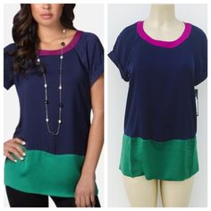 Color block top Gorgeous color block top. Beautiful in person . 100% polyester . Also available in size S &XL. Daisy Fuentes Tops Tees - Short Sleeve