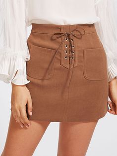 To find out about the Grommet Lace Up Dual Pocket Skirt at SHEIN, part of our latest Skirts ready to shop online today! Fall Skirts, Short Skirts, Cute Skirts, Mini Skirts, Eyelet Skirt, Lace Up Skirt, Tan Skirt, Denim Skirt, Jeans Marron