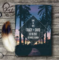 PRINTABLE Sunset Palms Save The Date Wedding by KittyLovesLou