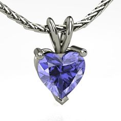 Heart Tanzanite 14K White Gold Necklace | Brilliant Heart Pendant | Gemvara
