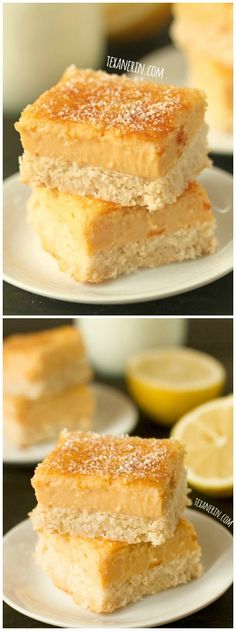 These healthier lemon bars are sweetened naturally with maple syrup and are #grainfree, #glutenfree and #dairyfree!