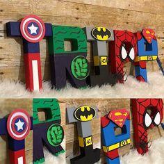 Super hero Letters Super Hero Names Super heroes Batman image 9 Batman Birthday, Avengers Birthday, Superhero Birthday Party, Third Birthday, 4th Birthday Parties, Birthday Party Decorations, Boy Birthday, Super Hero Birthday, Superman Party
