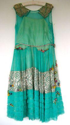 1920s silk chiffon gold lame lace ribbon rosette dress