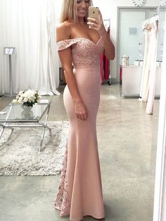 Long pink sexy bridesmaid dress, Bridesmaid dress with lace, V-Neck bridesmaid dress, Mermaid bridesmaid dress,Dress for party. PD2195
