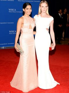 Leading ladies: Slumdog Millionaire star Freida Pinto posed for photos with the Russian supermodel Anne V