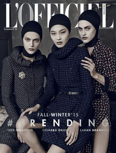 Sarah Brannon, Tess Hellfeuer, & Chiharu Okunugi are edgy for L'Officiel Singapore September 2015