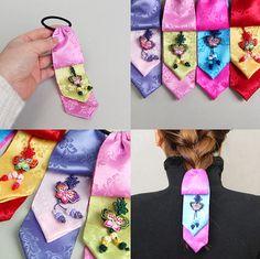Korea hair ribbon DAENGGI Korean traditional dress by muzeday Korean Traditional Dress, Traditional Dresses, Diy And Crafts, Arts And Crafts, Korean Art, Korean Outfits, Floral Tie, Art For Kids, Craft Projects