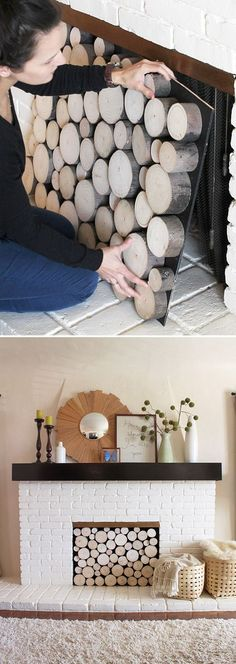 Faux Fireplace Ideas and Projects • Lots of Ideas and Tutorials! Including, from 'pepper design', this awesome DIY Log Facade great for use in your faux fireplace or even a real fireplace!