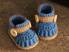 Crochet Pattern Boys Baby Booties Crochet Shoes ♡ by Inventorium