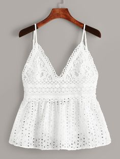 To find out about the Eyelet Embroidery Knot Back Cami Top at SHEIN, part of our latest Tank Tops & Camis ready to shop online today! Fashion News, Girl Fashion, Fashion Dresses, Punk Fashion, Lolita Fashion, Fashion Styles, Fashion Boots, Summer Outfits, Casual Outfits