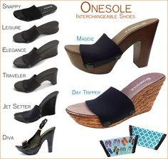 We welcome two NEW Soles to Anderson Avenue! The Maddie and the Day Tripper are fabulous additions to the Onesole Interchangeable Shoe collection. Shop these and our selection of more than 600 interchangeable tops. Workout Wear, Shoe Collection, Heeled Mules, Fashion Accessories, Fashion Outfits, Elegant, Heels, How To Wear, Shopping