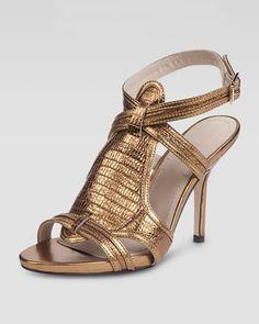 Elizabeth and James Tango Metallic Lizard-Embossed Sandal, Copper - Neiman Marcus
