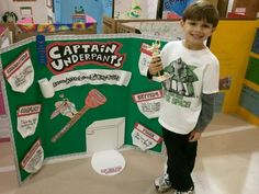 """Reading Fair project grade place """"Captain Underpants: Attack of the Talking Toilets"""" Science Activities For Kids, Science Fair Projects, Science Experiments Kids, Book Activities, Book Report Projects, Reading Projects, Book Projects, School Projects, 1st Grade Books"""
