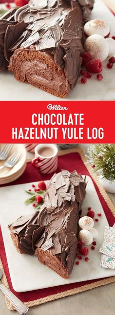 Chocolate Hazelnut Yule Log - Add a traditional and delicious Yule Log cake to your dessert table this Christmas. This recipe calls for rich rolls of chocolate cake with a delicious hazelnut filling, all bundled into a beautiful log covered in Cocoa Candy Melts bark. It's a show-stopping centerpiece to impress your guests and Yule love just how tasty it is! Serves about 12 people. #christmas #yulelogcake #holidays #christmascake