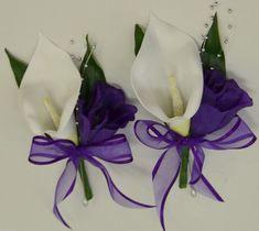 1x WEDDING FLOWER BRIDAL FLOWERS SILK CALLA LILY PIN CORSAGE WHITE PURPLE | Home & Garden, Wedding Supplies, Flowers, Petals & Garlands | eBay!