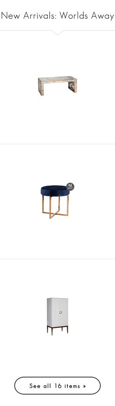 """""""New Arrivals: Worlds Away"""" by zincdoor ❤ liked on Polyvore featuring home, furniture, stools, navy blue furniture, velvet furniture, brass furniture, brass stool, dark blue furniture, storage & shelves and entertainment units"""