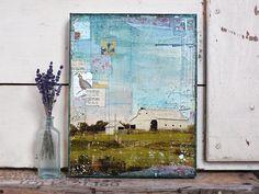"DISCOUNTED! Sweet Carolina - 11"" x 14"" original mixed media painting - rustic farm collage art"