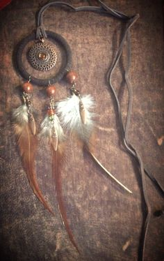 Brown Dream Catcher Necklace - Dream Catcher Jewelry, Feather Necklace, Bohemian Jewelry