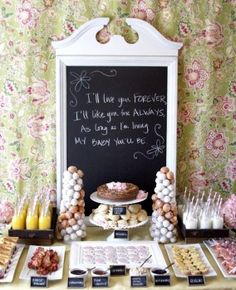 Thrift shop mirror has been painted and made into a chalkboard.  Can use this over and over for get togethers.