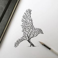 Alfred Basha depicts #trees sprouting into #animals with #pen & #ink.