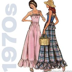 This Butterick pattern makes a ruffled evening-length dress. Condition This is an original vintage sewing pattern from the The printed pattern pieces are in 'like new' condition - uncut a Vintage Dress Patterns, Clothing Patterns, Vintage Dresses, Vintage Outfits, 70s Fashion, Vintage Fashion, Mode Vintage, Diy Clothes, Ideias Fashion