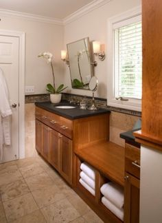 Bathroom Bench what a great idea to have a bench seat with storage underneath in
