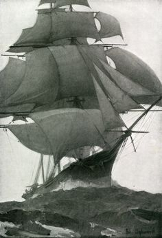 A picture of a full-rigged ship soaring over mildly swelling seas.