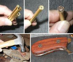 """Pat Percival of NorthCoast Knives posted this simple phototutorial demonstrating how he makes decorative handle pins for his custom knives by nesting telescoping metal tubing of various sizes, shapes, and materials. These are known as """"mosaic"""" pins among knifemakers, and although Pat only mentions it in passing, it is generally agreed that the voids in the design need to be filled with some kind of resin, which is often epoxy with coloring agents added to taste."""