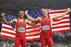 Ghosts of Dan and Dave undone:  Americans Ashton Eaton (left) and Trey Hardee went 1-2 in the men's decathlon, the first US duo to do so since 1956. What was more impressive was how dominant they were in the event that kings have said crowns the best athletes.