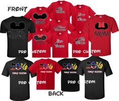 Minnie Mom Mikcey Dad Disney Family Vacation 2016 Front & Back funny cute Customized T-Shirts YOUTH ADULT  2T-4XL Family Vacation Shirts, Family Travel, Time Shop, Disney Family, Best Vacations, Funny Cute, Funny Shirts, Dads, Youth