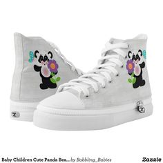 Baby Children Cute Panda Bear With Flower High-Top Sneakers - Canvas-Top Rubber-Sole Athletic Shoes By Talented Fashion And Graphic Designers - #shoes #sneakers #footwear #mensfashion #apparel #shopping #bargain #sale #outfit #stylish #cool #graphicdesign #trendy #fashion #design #fashiondesign #designer #fashiondesigner #style