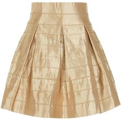 Blue Vanilla Gold Pleat Skirt ($33) ❤ liked on Polyvore featuring skirts, gold, zipper skirt, pleated mini skirt, mini cami, mini camisole and gold mini skirt