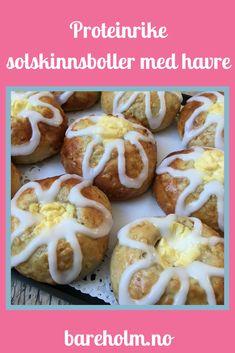 Proteinrike solskinnsboller m/ havre Doughnut, Protein, Desserts, Food, Meal, Deserts, Essen, Hoods, Dessert